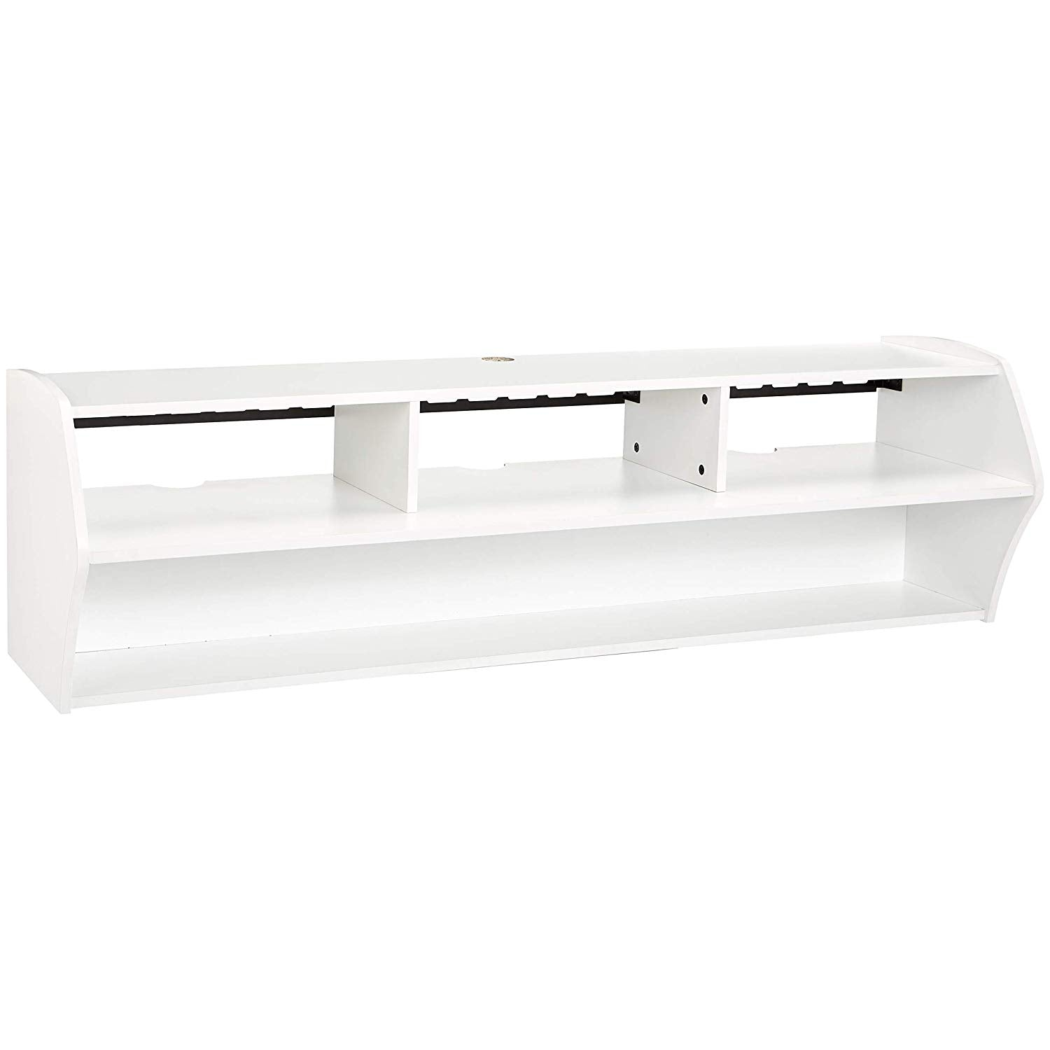 58-Inch Floating Wall-Mounted TV Stand, Pure White