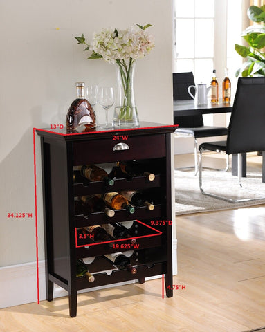 Wood Buffet Wine Rack Cabinet with Drawer, Dark Cherry