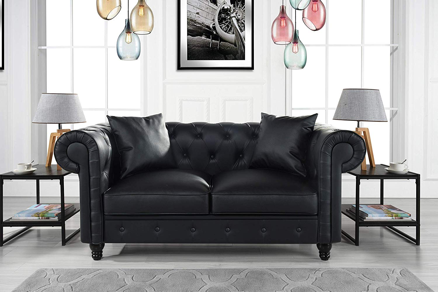 Classic Living Room Bonded Leather Scroll Arm Chesterfield Loveseat (Black)