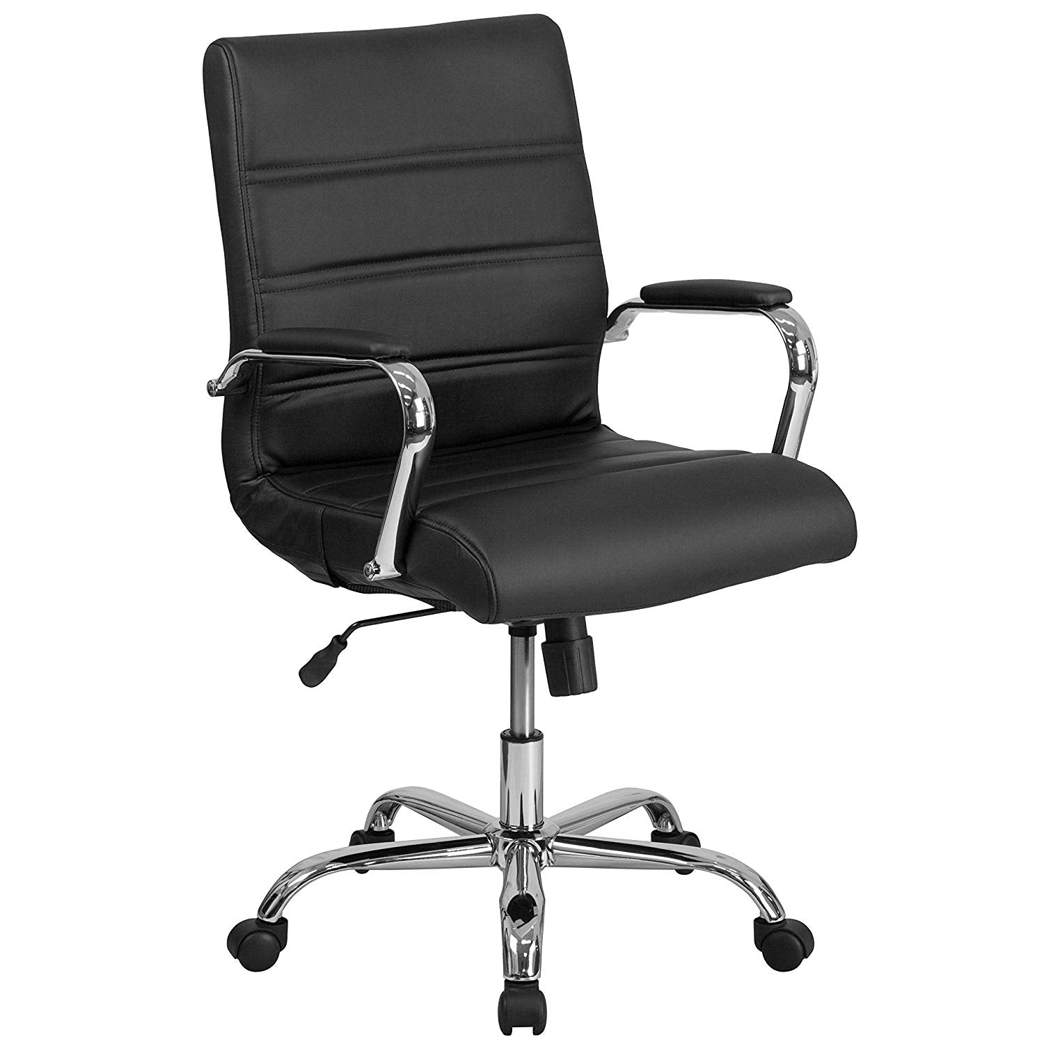 Flash Furniture Mid-Back White Leather Executive Swivel Chair with Rose Gold Frame and Arms