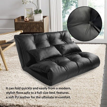 Floor Sofa Pu Leather Adjustable Leisure Lazy Lounge Sofa Chair with 2 Pillow, Black