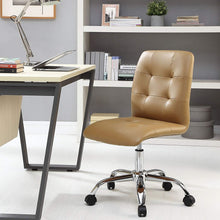 Prim Ribbed Armless Mid Back Swivel Conference Office Chair In Tan
