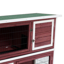 "48"" 2-Story Elevated Stacked Wooden Rabbit Hutch Small Animal Habitat with Ramp"