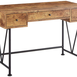 3-Drawer Writing Desk with Antique Nutmeg and Black