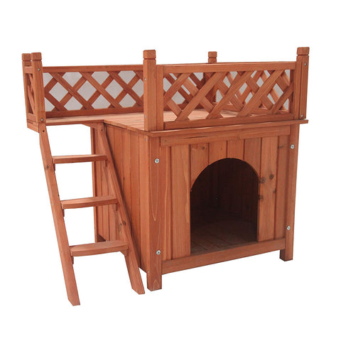 Wooden Cedar Pet Home for Small Pets Dogs Cats Side Steps and Balcony Kennel Lounger 28 x 20 x 25 Inches