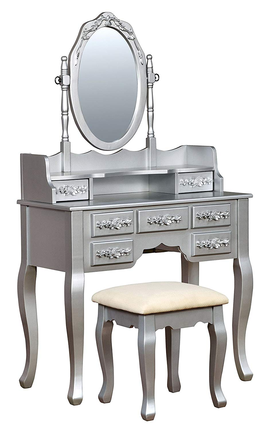 IDF-DK6845SV Gala Transitional Vanity Table with Stool, Silver
