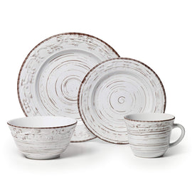 White 16-Piece Stoneware Dinnerware Set, Service for 4
