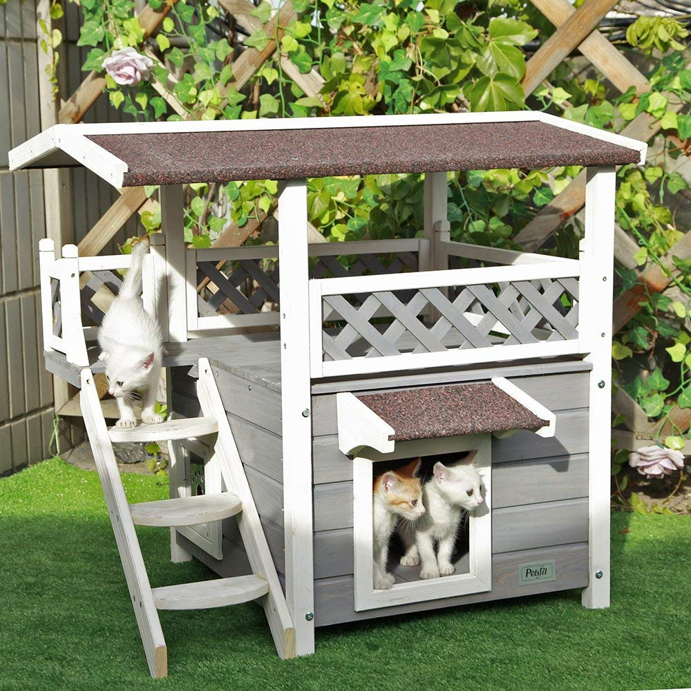 Outdoor Cat House with Escape Door and Stairs, 1-Year Warranty