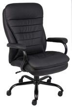 B991-CP Heavy Duty Double Plush LeatherPlus Chair with 350lbs Weight Capacity in Black