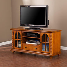 "50"" Television Stand - Windowpane Cabinets w/Antique Oak Finish,"