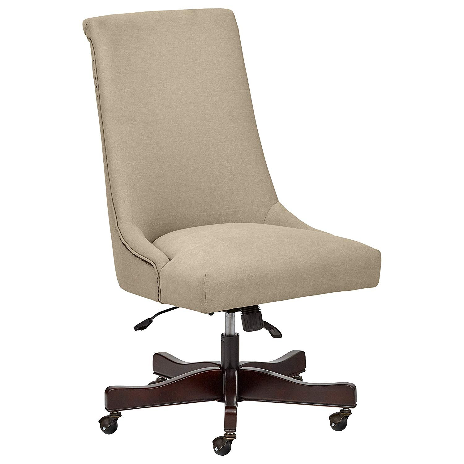 Nailhead Swivel Office Chair with Wheels, 28.4