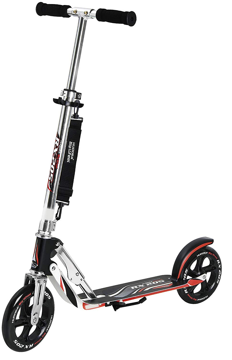 205 Adult Folding Kick Scooter- 2 Big PU Wheels 205 mm, Adjustable Bar,Reinforced Deck