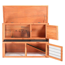 "48"" Rabbit Hutch - Two Story Wood Bunny Cage"