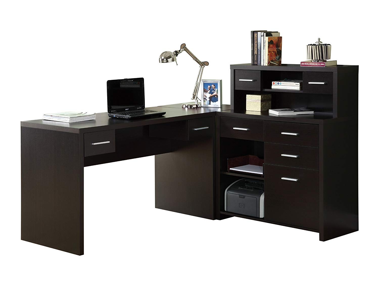 Hollow-Core L-Shaped Home Office Desk, Cappuccino