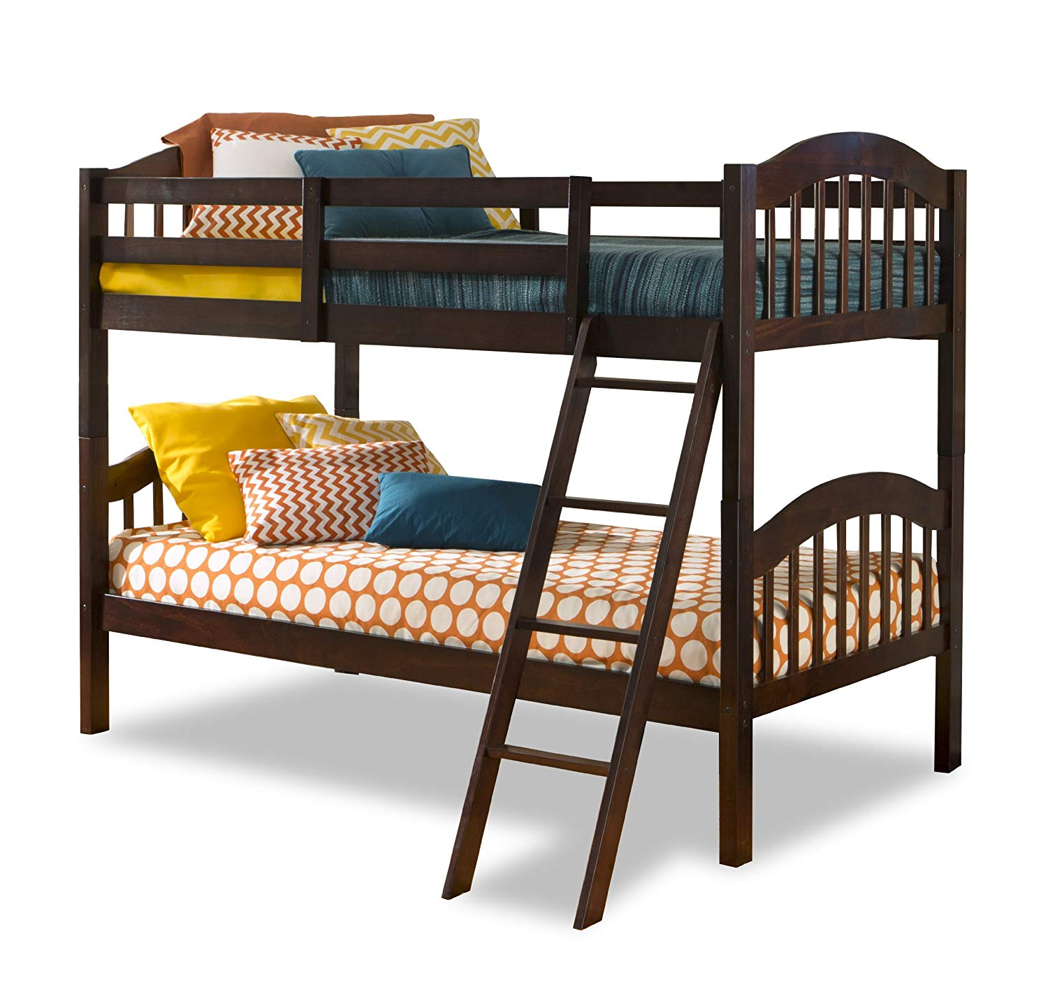 Long Horn Solid Hardwood Twin Bunk Bed, Espresso Twin Bunk Beds for Kids with Ladder and Safety Rail