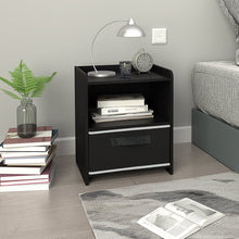 Wood Nightstand, Bedroom End Table with Shelf and Drawer, Black
