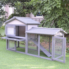 Outdoor Raised Painted Deluxe Wood Rabbit Hutch Bunny Outdoor Animal Cage Enclosure with Run