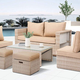 Outdoor Furniture Set 6 Pieces Garden Patio Sofa Set Wicker Rattan Conversation Set No Assembly Required Aluminum Frame
