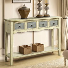 Console Table with Two Big Drawers Vintage and Weathered Design for Entryway Drawers and Long Shelf