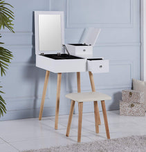 Makeup Vanity Table with Flip Top Mirro, 3 Removable Organizers