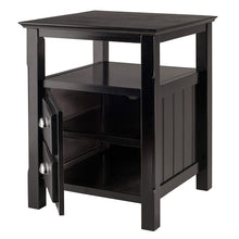 Solid Wood 2 Drawer Timber Night Stand Black Finish