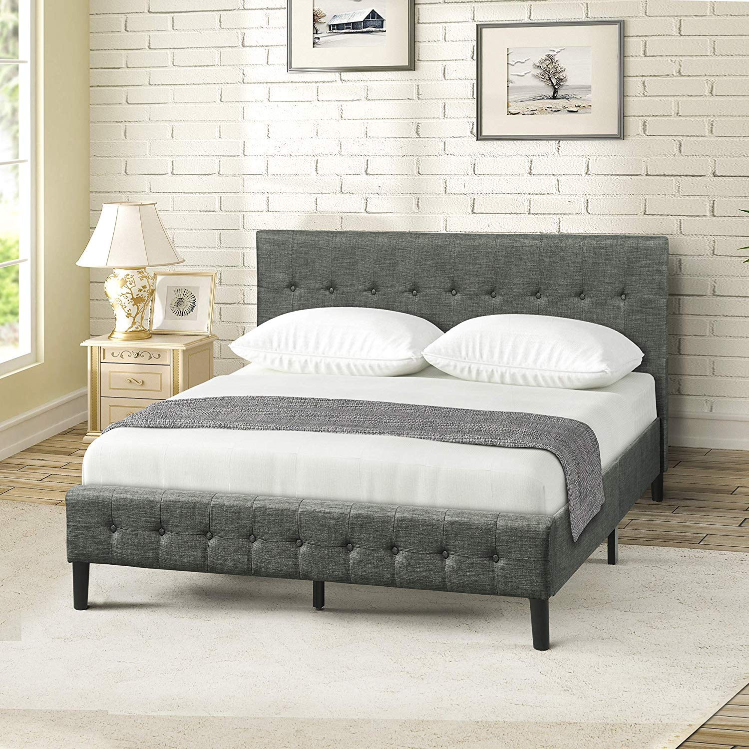 Upholstered Platform Bed Wooden Slat Support Tufted Headboard Footboard (Queen)
