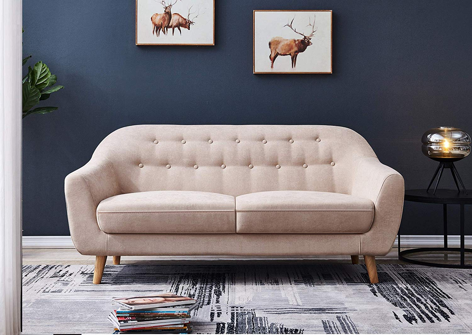 Mid Century 67�Fabric Loveseat Sofa Couch for Living Room Tufted Line Fabric Upholstered Accent Sofa Furniture (Grey)