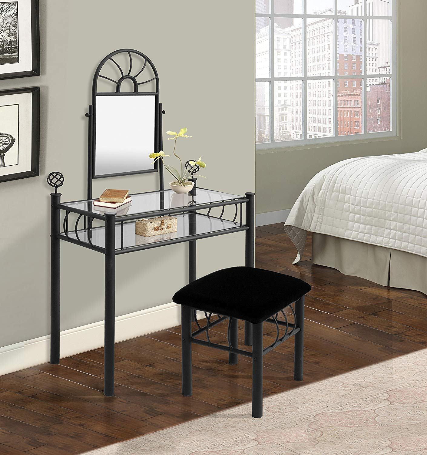Industries 200-6032 Vanity with Upholstered Bench, Black