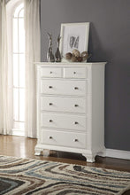 Wood 5-Drawer Chest, White