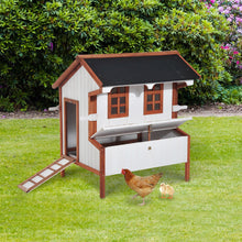 "PawHut 43"" Raised Portable Backyard Wooden Cottage Chicken Coop with Nesting Box and Handles"