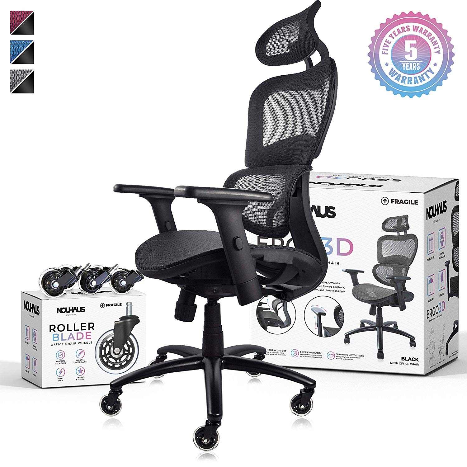 Ergonomic Office Chair - Rolling Desk Chair with 4D ...