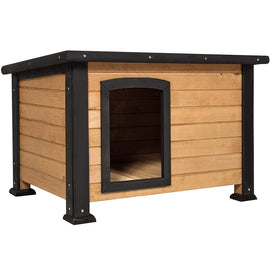 Wooden Weather-Resistant Log Cabin Dog House w/Opening Roof for Small Dogs, Outdoor or Indoor Kennel, Pet Shelter - Brown