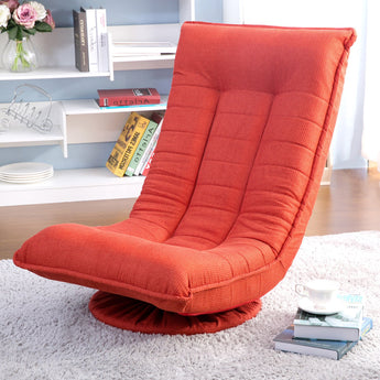 360 Degree Swivel Folded Video Game Chair Folding 4-Position Adjustable Gaming Chairs for Kids Floor Sofa Chair Sleeper Chair (Orange Red)