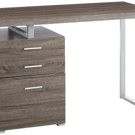 Writing Desk with File Drawer and Reversible Set-Up White and Silver