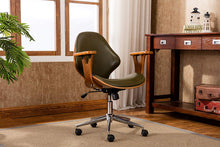 SKC009A GRN Lilian Office Chairs in Mid Century Modern Design with Arm Rests, Leather Upholstery, Height Adjustment & Stainless Steel Legs, Green