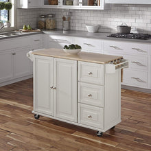 Liberty White Kitchen Cart with Wood To