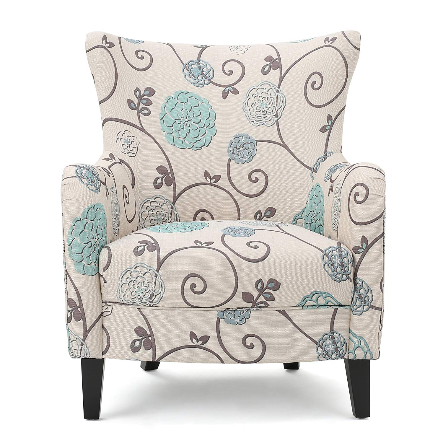 Ivory and Blue Floral Fabric Club Chair