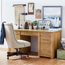 "Office Computer Desk with 7 Drawers, 64""W, Oak"