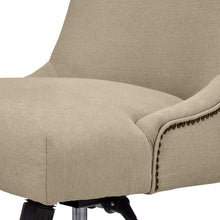 "Nailhead Swivel Office Chair with Wheels, 28.4""W, Fawn"