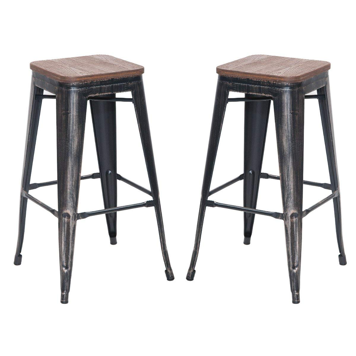 CAMANDE 30'' High Backless Metal Indoor-Outdoor Bar Stool Set of 2 (Distressed Black)