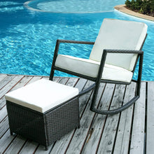 Camande Outdoor Armed Rattan Wicker Rocking Chair with Cushioned Ottoman