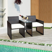 Camande Wicker Conversation Set Patio Furniture with Cushions for Use Rattan Chair Set