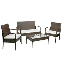 Camande 4 Pieces Patio Furniture Sets Outdoor Garden Conversation Wicker Sofa Set