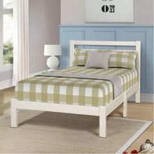 Camande Wooden slatted headboard with low profile a flat panel footboard