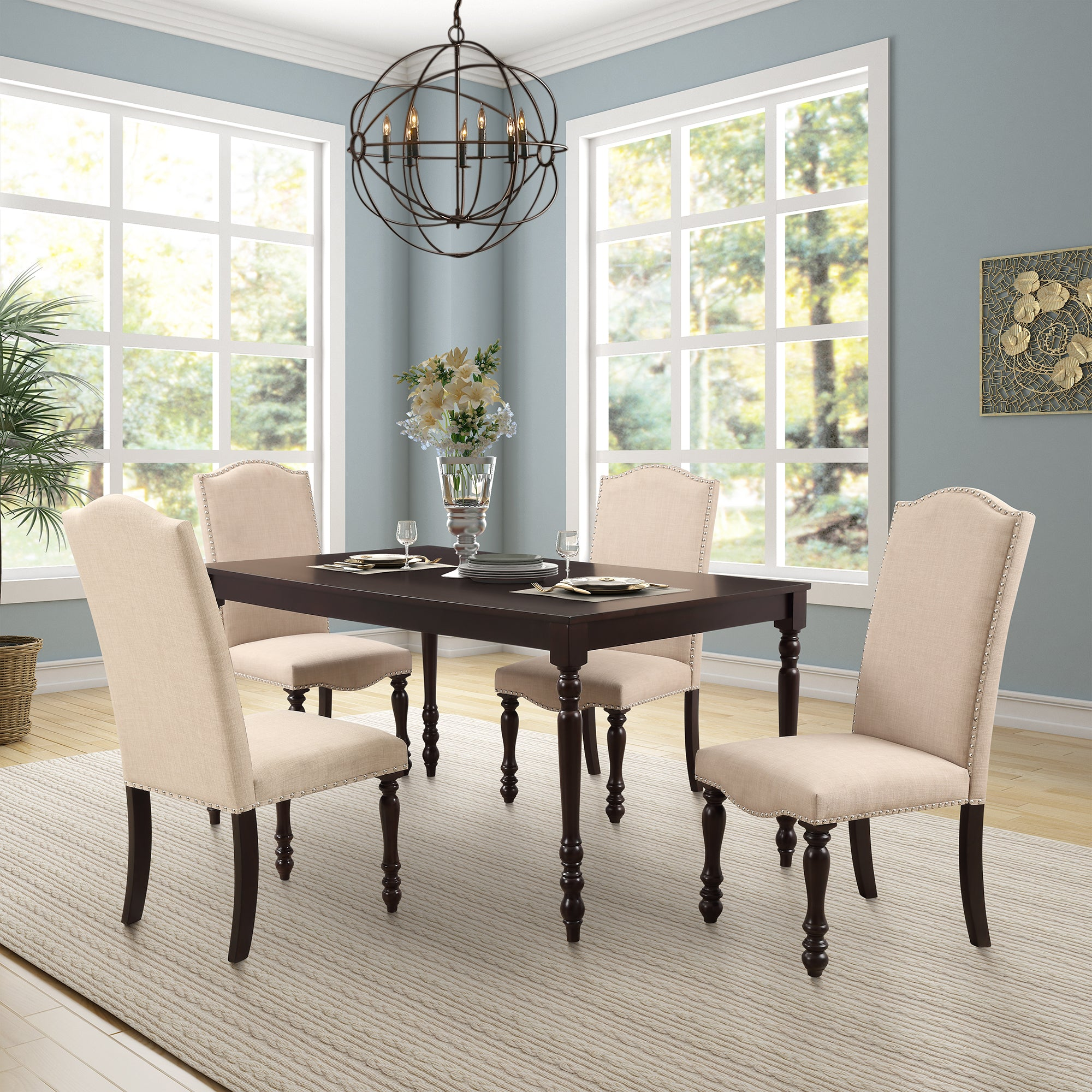 Dining Set 5 Piece Dining Set comes with a grand size table and 4 matching chairs