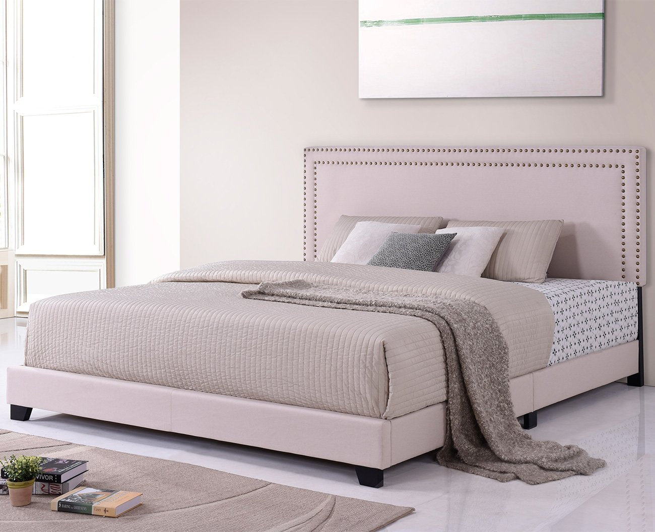 Camande Designs Milan Upholstered Platform Bed with Wooden Slats and Nailhead Detail (King)