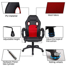 Polar Aurora Office Chair Leather Desk High Back Ergonomic Adjustable Racing Chair Task Swivel Executive Computer Chair(Black)