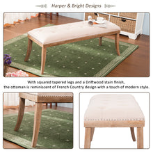 Camande Heyward Upholstered Button Tufted Bench with Solid Wood Legs and Nailhead Trim