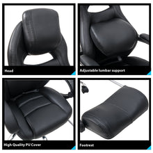 CAMANDE Racing Style Executive PU Leather Swivel Chair with Footrest and Back Support Reclining