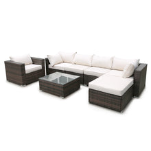 Camande Rattan Patio Furniture Set 7 pieces with easy-to-clean tempered glass top